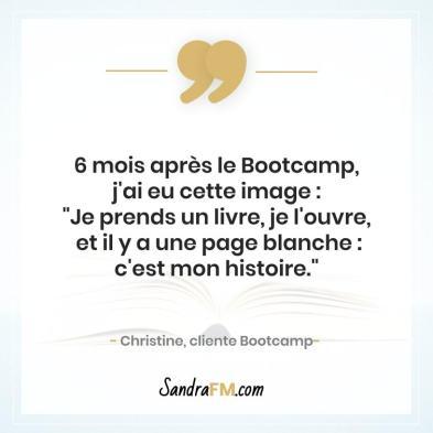 Bootcamp Avant Apres Temoignage Christine Libération Violence Psy Sandra FM page blanche