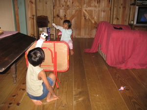 Backstage at the puppet show