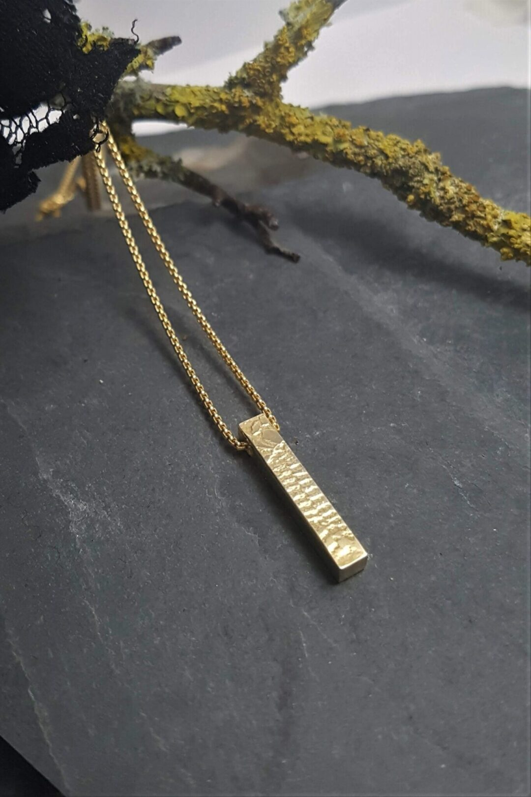 Metal & Lace Gold Bar Necklace