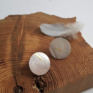 Birds of a Feather Large Disc Stud Earrings