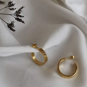 Metal and Lace Gold Hoop Earrings MEDIUM