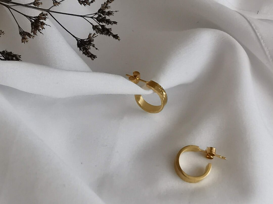 Metal and Lace Gold Hoop Earrings SMALL