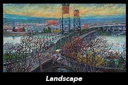 Plein-Air Landscape of the Hawthorn Bridge, Portland, Oregon