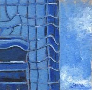 Cerulean Blue Tower by Sandra Mucha | Acrylic on Canvas | 5″ x 5″ /12.7cm x 12.7cm