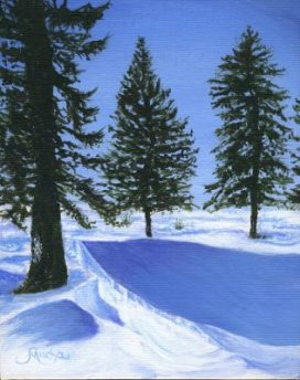 "Pine Trees in Winter 10""x8"" / 25cmx20cm Canvas Panel"