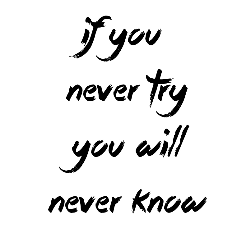 if you never try, you will never know