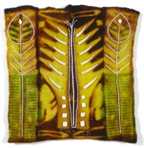 Erma Martin Yost, Seedlings, 12 x 12 x 2.5 in. (2016), in her Felted Gardens series.
