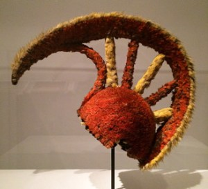 Feathered helmet, 1789 or earlier (feathers and fiber). Exhibited at the De Young (Fine Arts Museums of San Francisco). Peabody Museum of Archaeology and Ethnology at Harvard University.