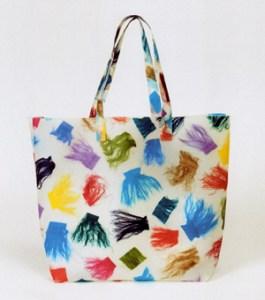 Luisa Cevese Riedizioni: Bag, Large Basket (2014, textiles since 1996); silk selvedges, polyurethane. Courtesy of Luisa Cevese Riedizioni.