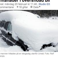 Iesnigušais Zviedrijas ziemeļos. Ziemas miegs vai protests?
