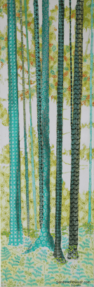 patterned trees painting by North Vancouver artist Sandrine Pelissier