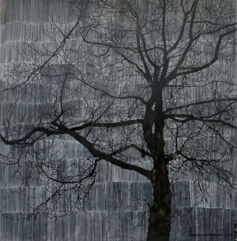 Timelines painting of a tree with patterns by North Vancouver artist Sandrine Pelissier