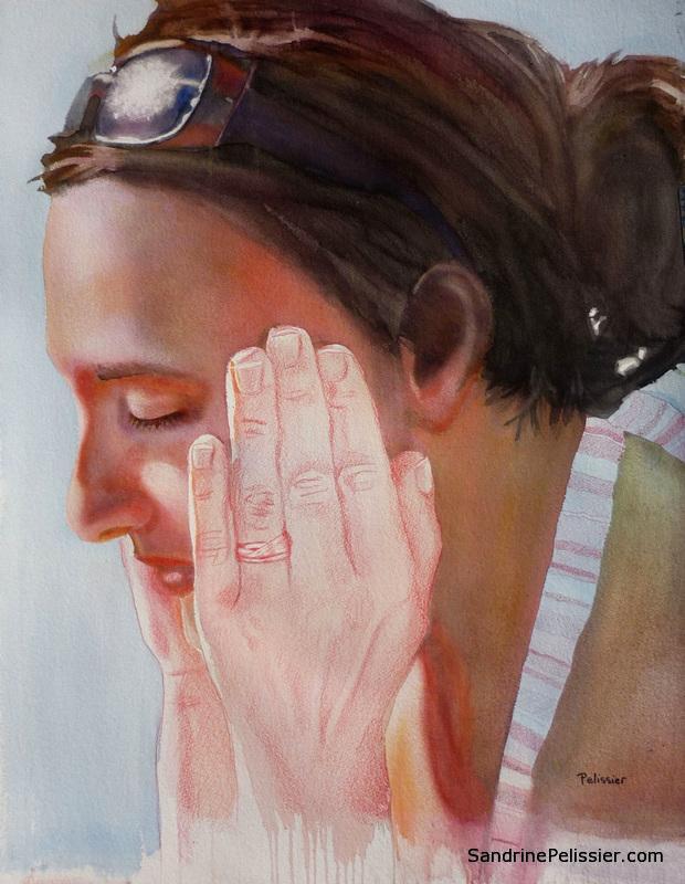 watercolor portrait painting by North Vancouver artist Sandrine Pelissier