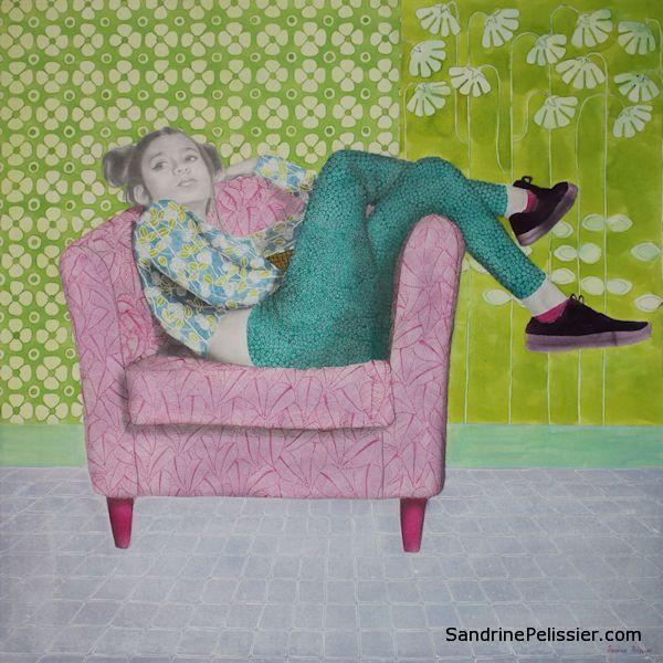 portrait painting with patterns by North Vancouver artist Sandrine Pelissier