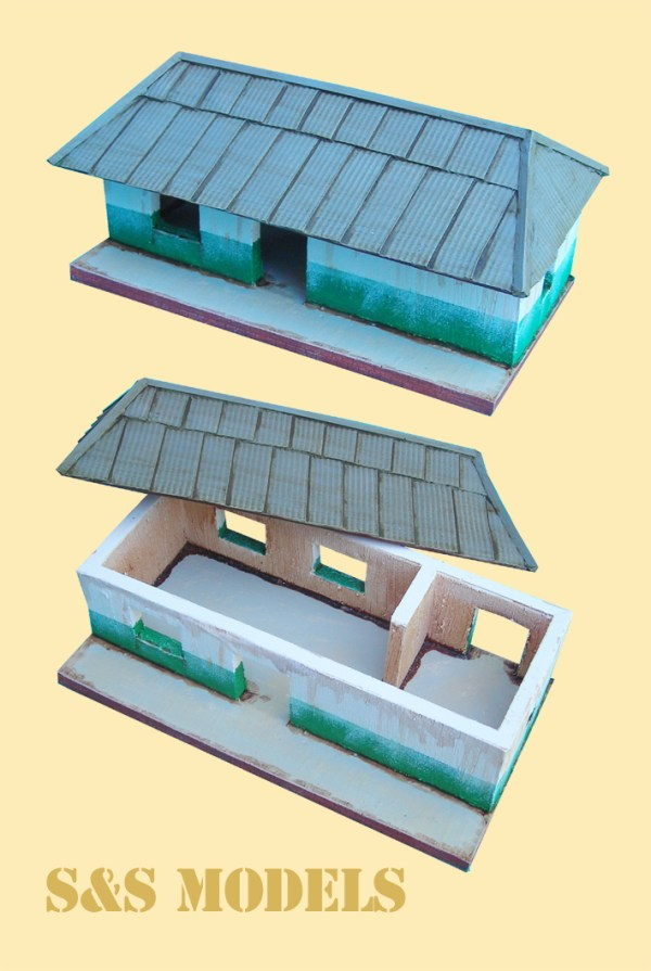 Colonial building with roof overhang