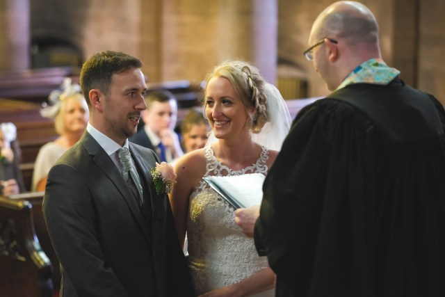 Wedding vows in Ullet Road church