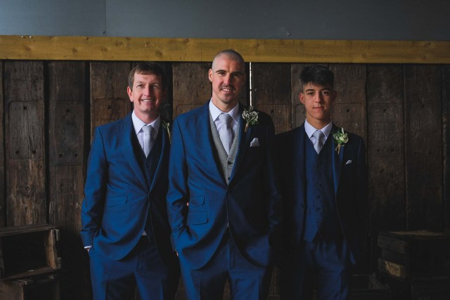 Groom and ushers at Owen House Wedding Barn