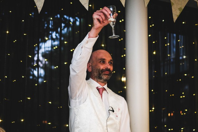 Groom toasting the guests