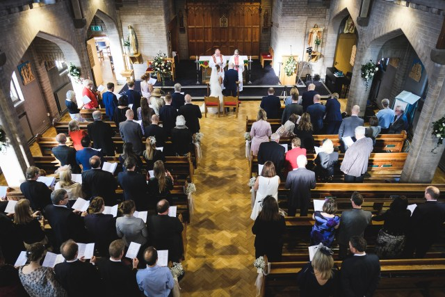 View from above in Saint Catherine's Church during a Wirral wedding