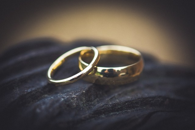 Macro photography of wedding rings
