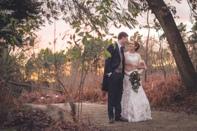 Cheshire wedding photograph in winter woodland