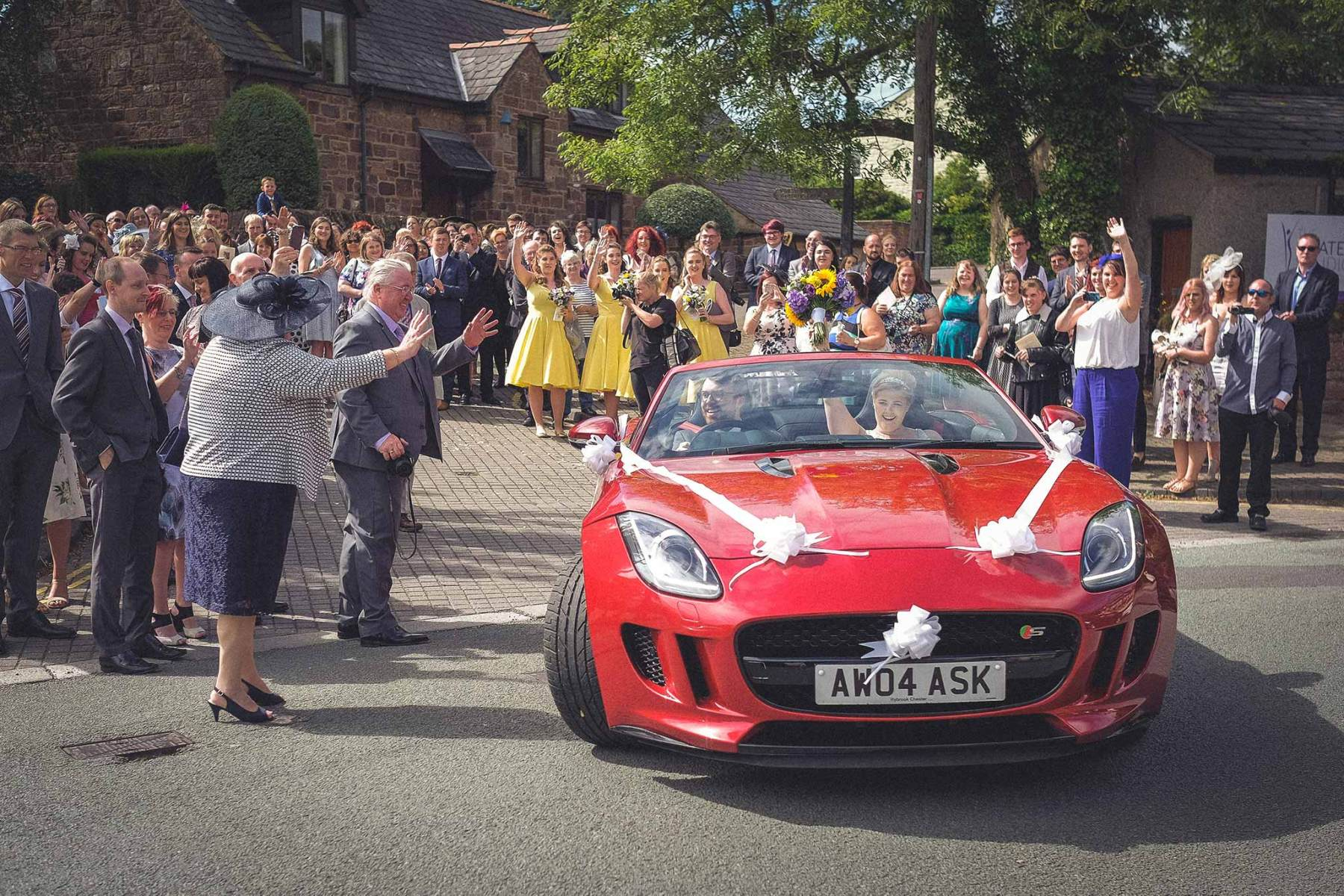 Wirral Wedding Photographer - bride and groom in car