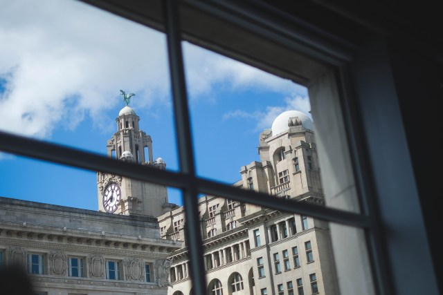 The Liver building, photographed from the Cunard Room at The Bentley