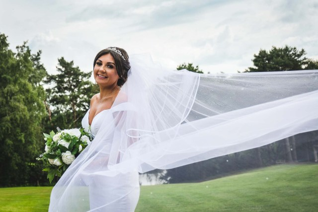 Bridal veil wedding photograph