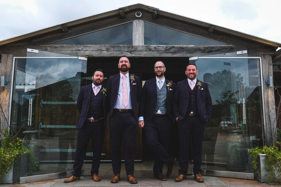 Groom and Ushers before the wedding ceremony at Owen House in Cheshire