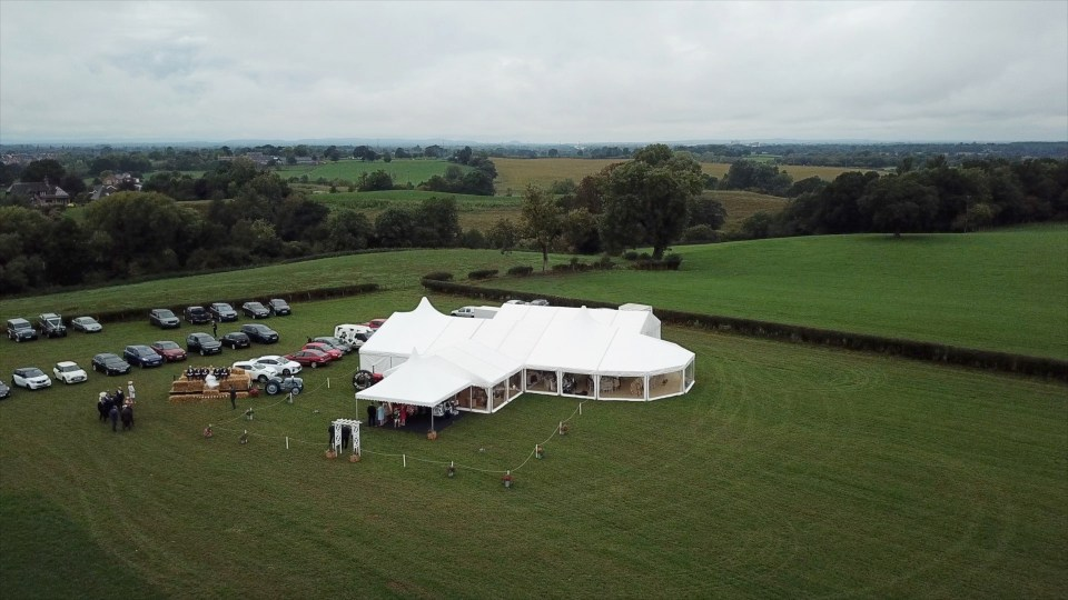 Wedding drone footage of Cheshire marquee
