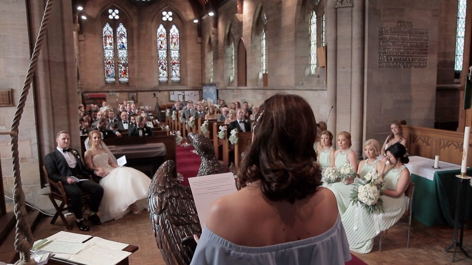 Reading in church during Cheshire wedding