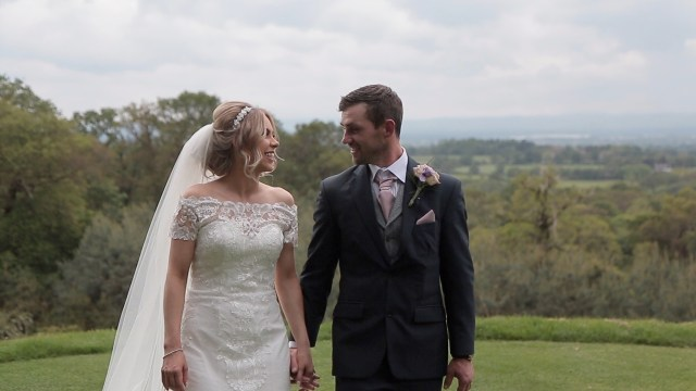 Bride and groom at Carden Park in Cheshire