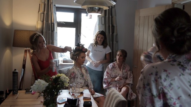 Bridal party getting ready for Welsh wedding