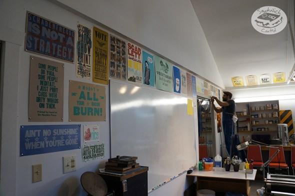 Hanging prints.