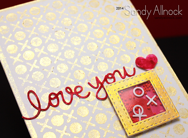 Sandy Allnock - Gold Spray Shaker Valentine2