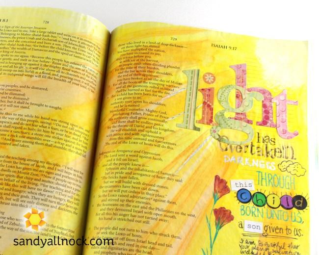 Sandy Allnock Bible Journal Light has Overtaken Darkness