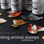 Painting animal stamps with Brusho