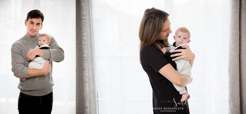 regard d'une maman pour son bébé et papa avec son bébé dans les bras