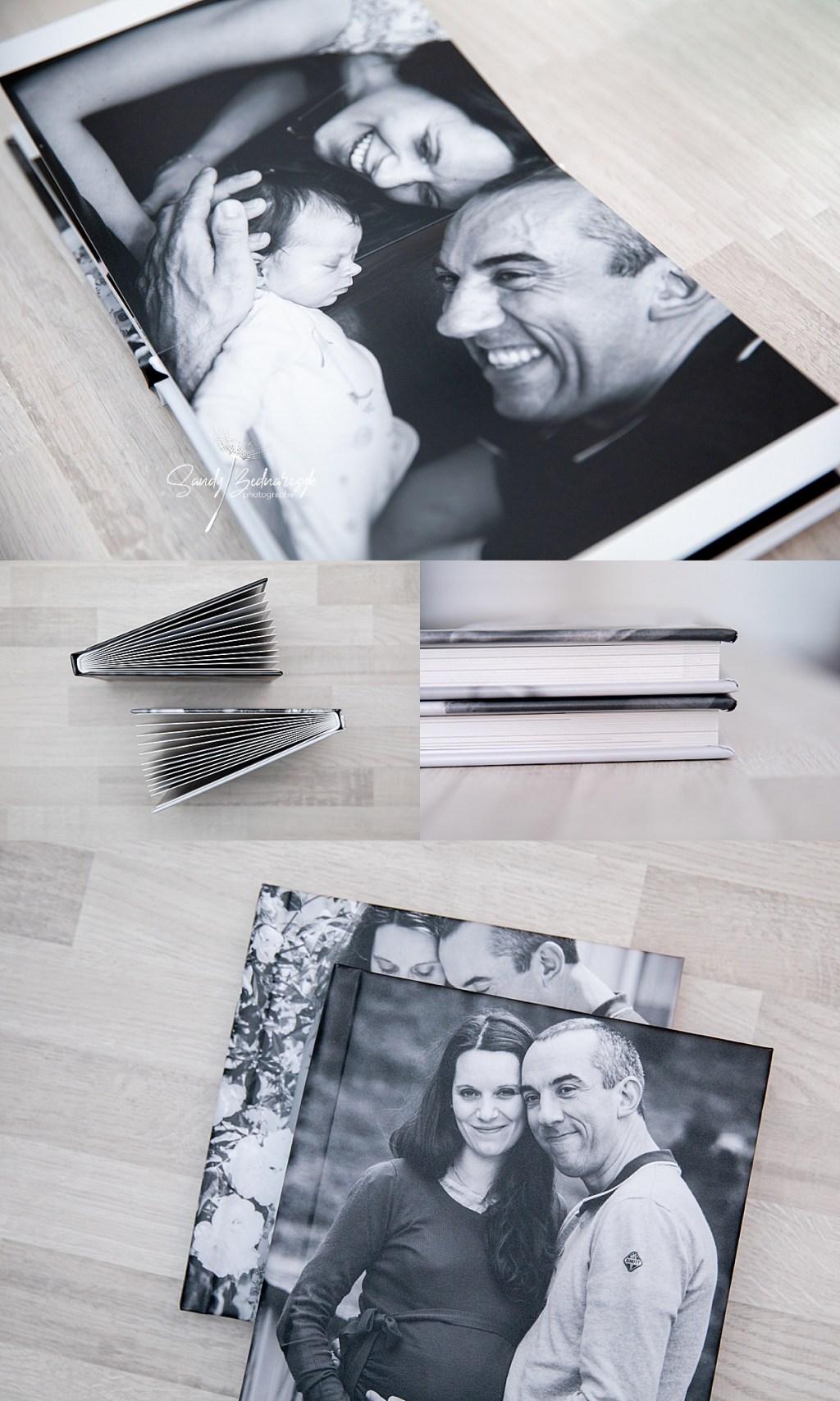 album photo avec page en noir et blanc