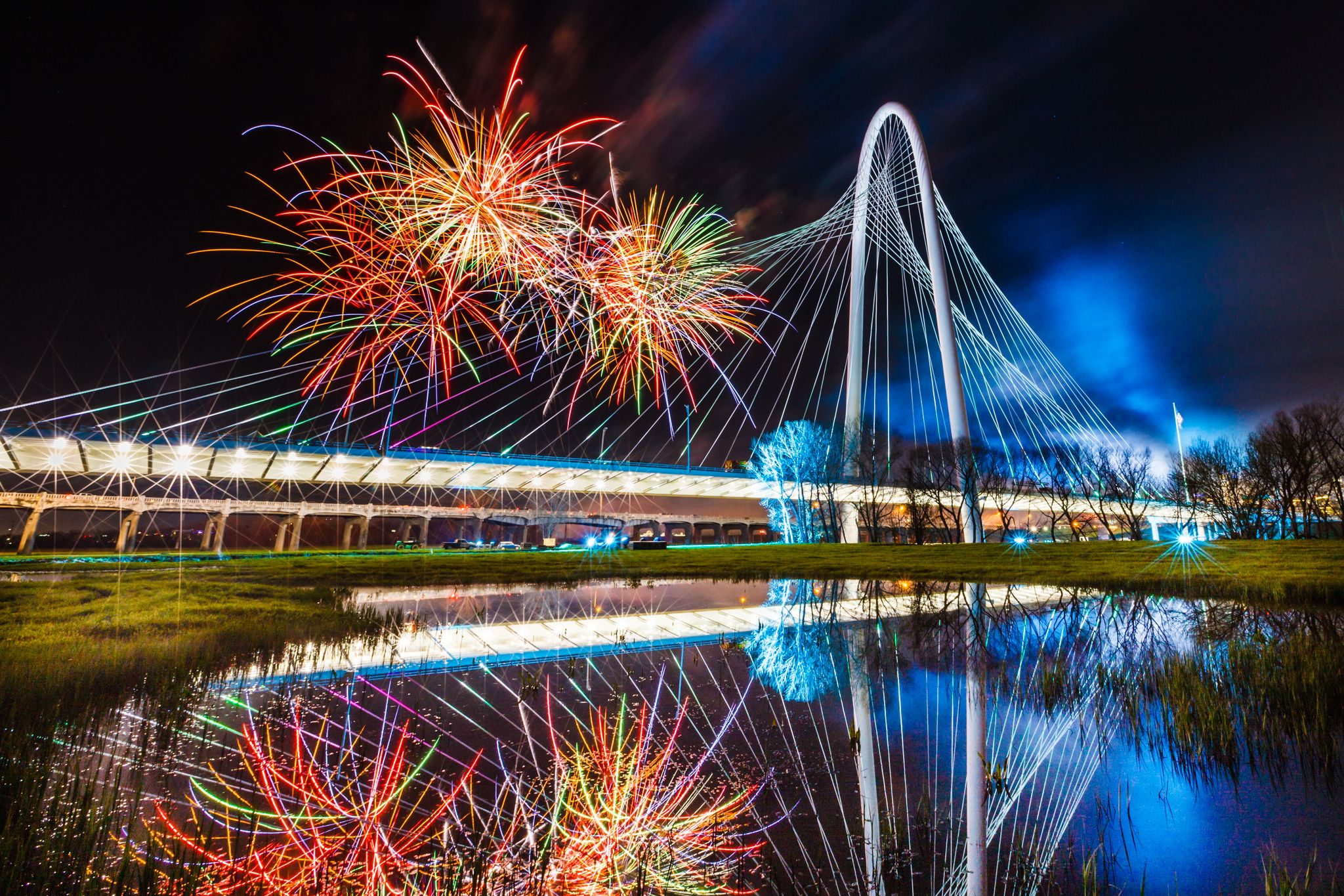 fireworks over margaret hunt bridge dallas texas sandy hibbard creative marketing blog