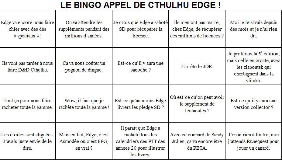 Cthulhu chez Edge, le bingo