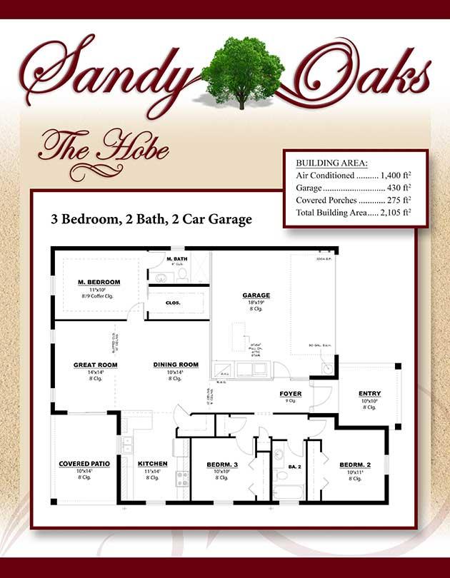 The Hobe 3 Bedroom 2 Bath 2 Car Garage Sandy Oaks