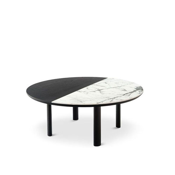 bam round black and white cocktail table