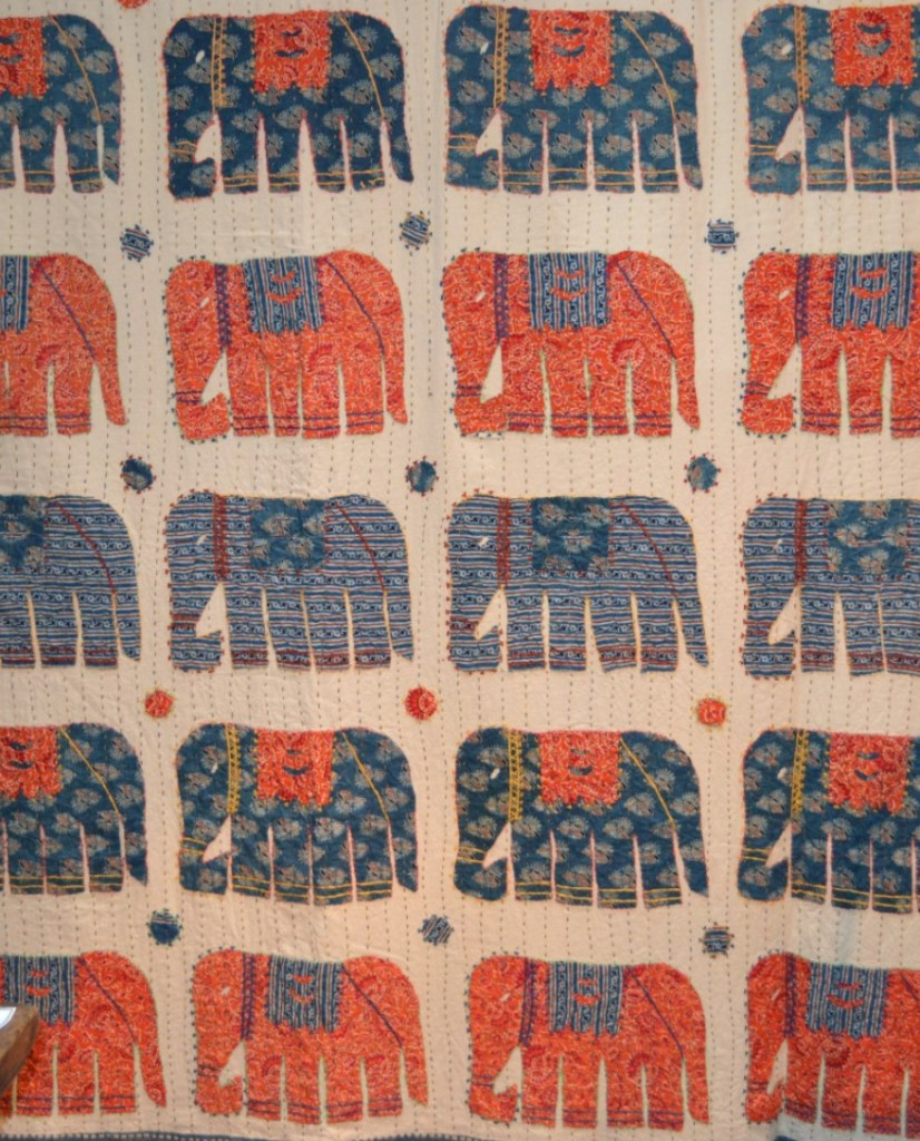 Oriental Block Printed Elephant Design Bedspread