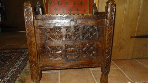 Early 20th century carved wood chest from the Swat Valley in northern Pakistan used for storing possessions.