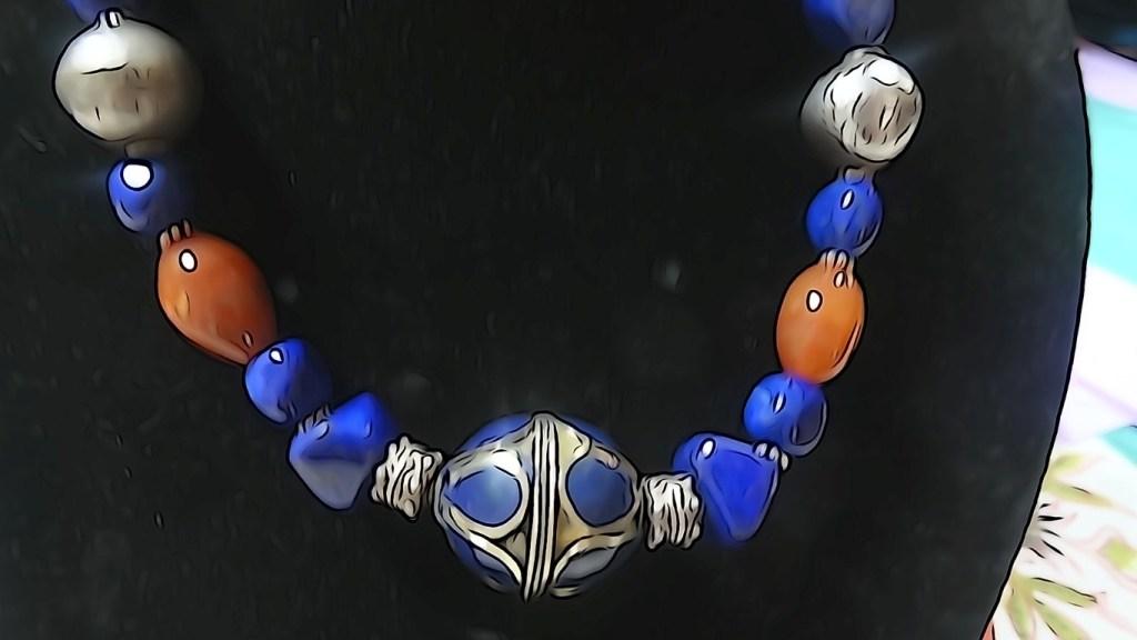 Lapis lazuli and cornelian silver necklace