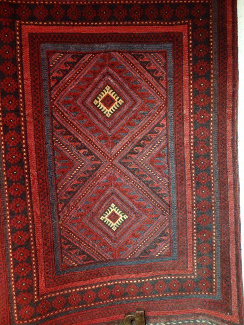 Mushwani rug woven in Afghanistan. Weaving technique a mixture of soumak and pile