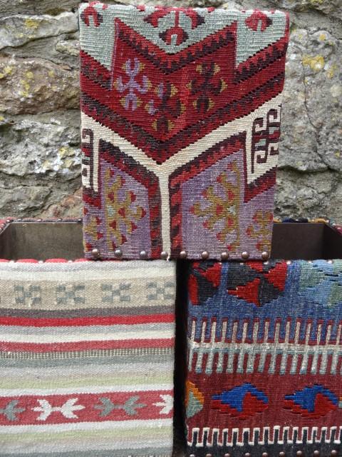 Turkish kilim covered wastepaper bins