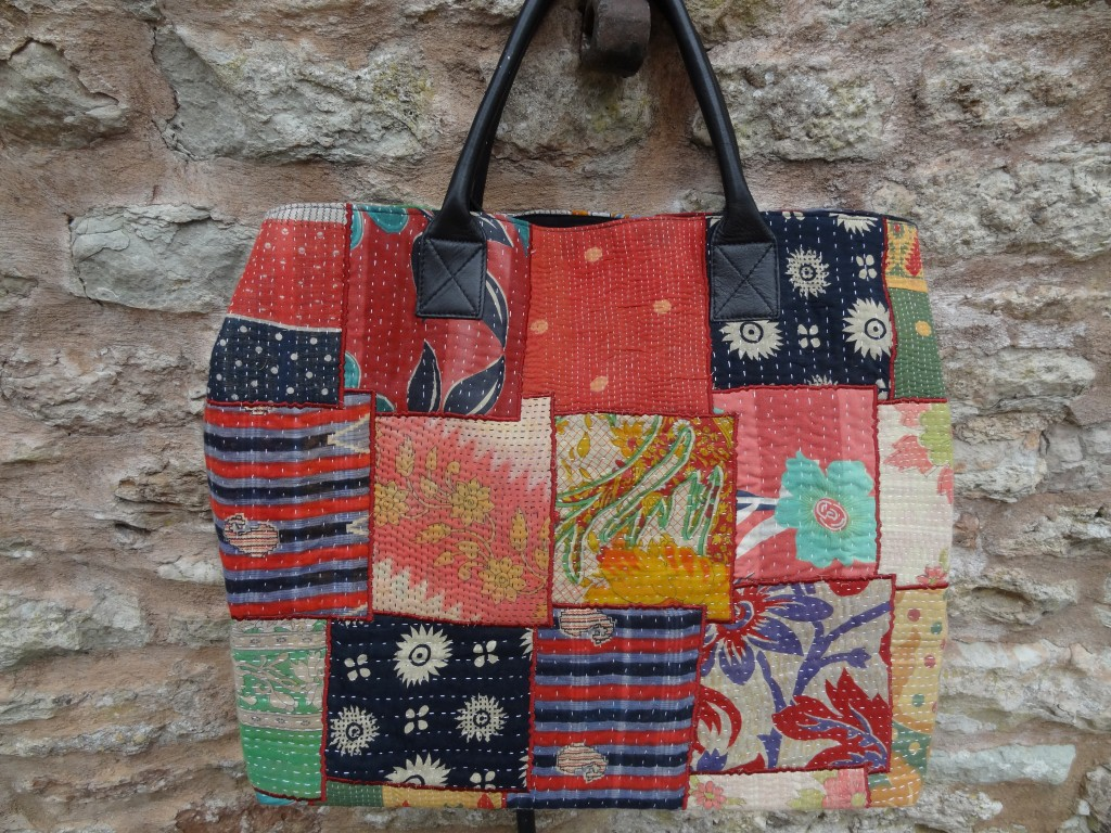 Kantha shopping bag with leather handles