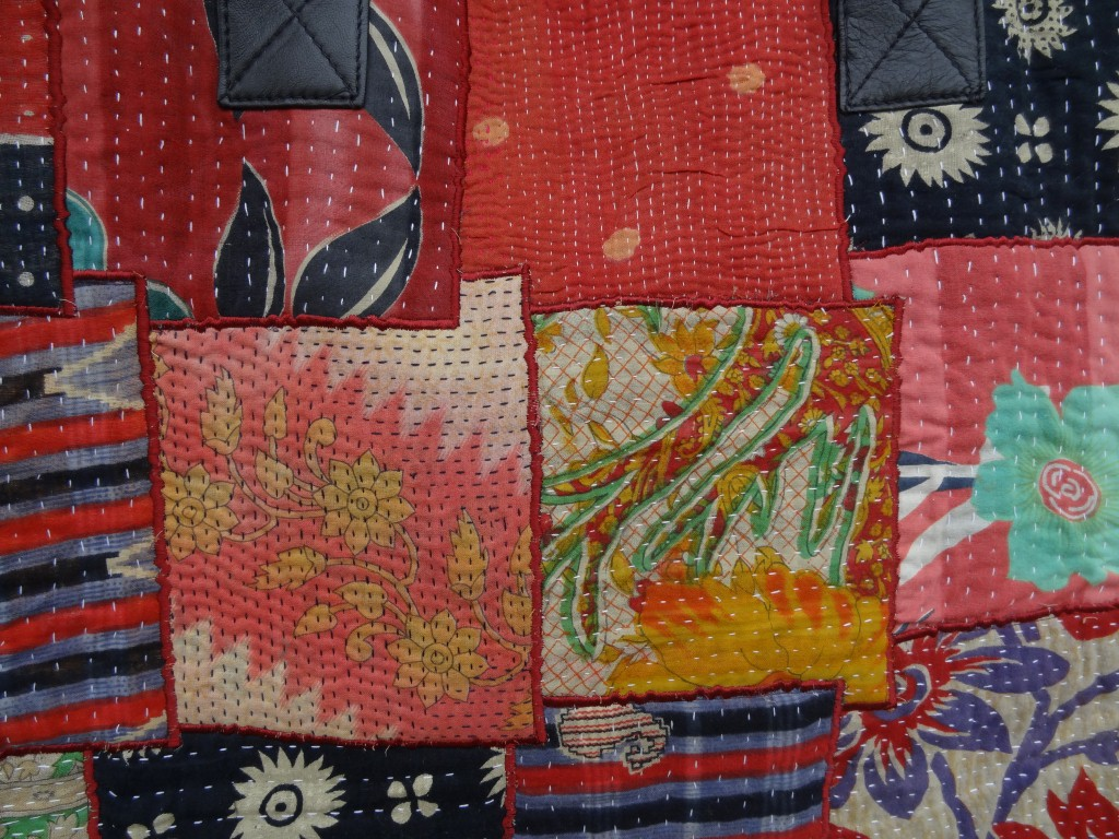 Detail of Kantha shopping bag with leather handles